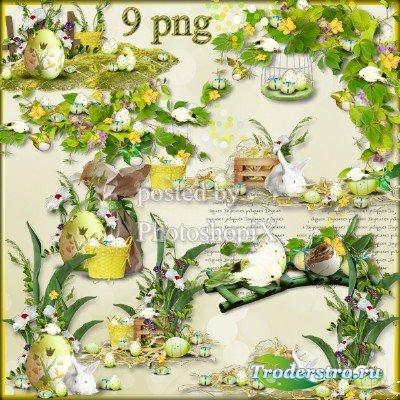 Пасхальный PNG клипарт – Праздничные композиции