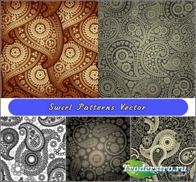 Черно-белые и серые фоны в стиле пейсли (Вектор)