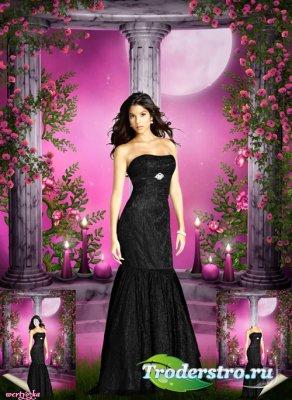 Многослойный женский psd шаблон - Девушка в черном платье на фоне лунной но ...