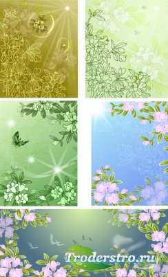 Зеленые фоны с розовыми цветами и