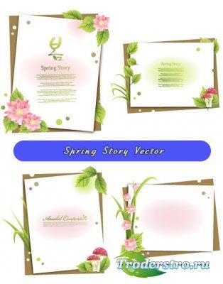 Фоны с цветами - Весенняя история (Вектор)