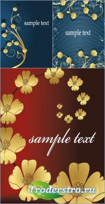 Фоны с цветами из чистого золота (Вектор)
