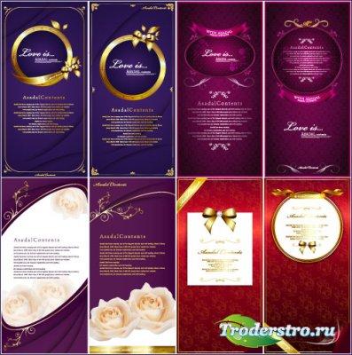 Фиолетовые, вишневые, красные открытки с белыми розами (Вектор)