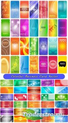 58 Бизнес карточек с цветными абстрактными дизайнами (Вектор)