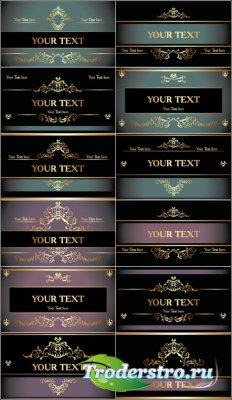 Карточки фоны с золотыми узорами и полосами (Вектор)