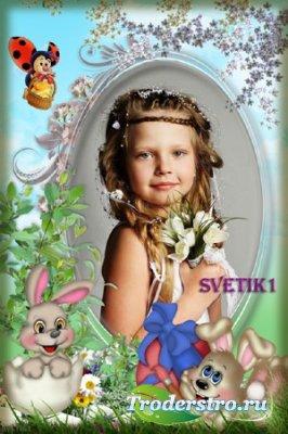 Детская пасхальная рамка для фото - Зайчата