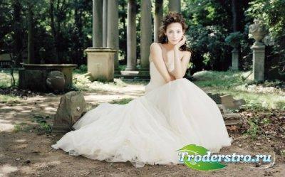 Шаблон для фото Невеста в старом парке