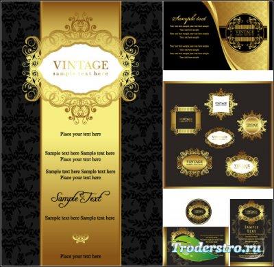 Золотые фоны с набором рамок в винтажном стиле (Вектор)