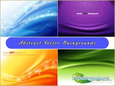 Фиолетовые, синие, оранжевые фоны с абстрактными волнами (Вектор)