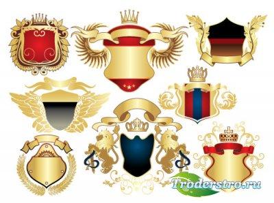 Золотые крылатые лейблы орнаменты (Вектор)