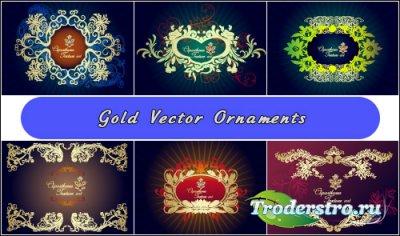 Золотые рамочные орнаменты с кружевами (Вектор)