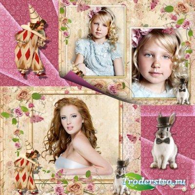 Рамки для фото - Фотография с клоуном и кроликом