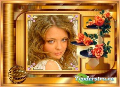 Женская рамка - золотой отлив с розами