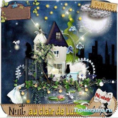 Детский скрап-набор - Лунный свет в ночи. Scrap - Nuit au clair de lune