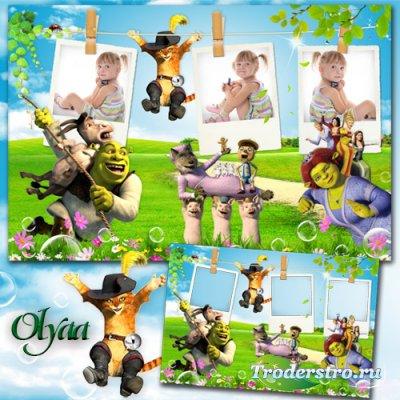 Детская рамка на три фото с героями м/ф Шрек