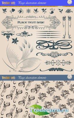 Декорация для книжных страниц и паттерны из завитушек (Вектор)