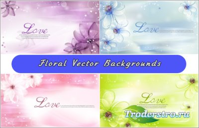 Романтичные небесно-голубые, розовые фоны с цветами (Вектор)
