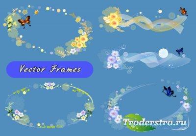 Нежные овальные рамки с бабочками и головками цветов (Вектор)