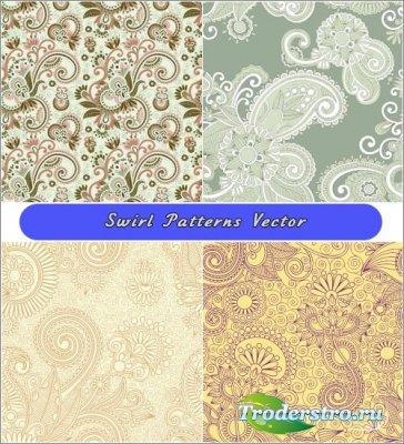 Желтые и салатовые цветочные паттерны винтажном стиле (Вектор)