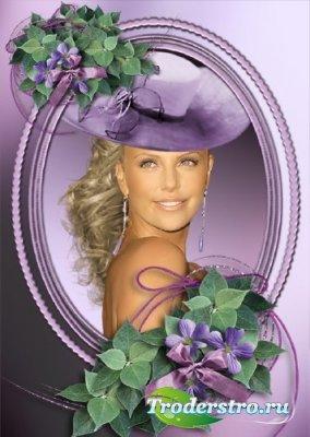 Фиолетовая рамка для фотомонтажа с цветами