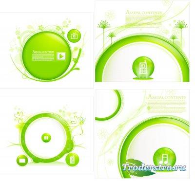 Зеленые круги с музыкальными элементами (Вектор)