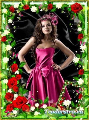 Цветочная рамка для фото -  Розы нежный аромат манит в мечтательные дали