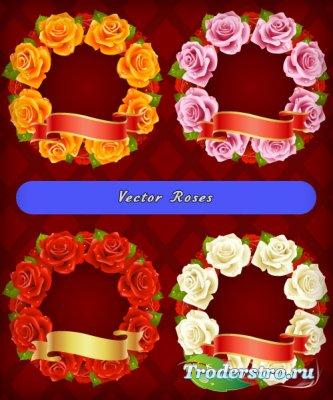 Белые, желтые, красные, розовые розы в форме венка (Вектор)