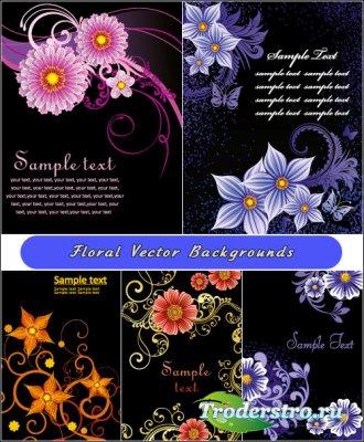 Черные фоны с небесно-голубыми и розовыми цветами (Вектор)