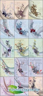 Цветочные угловые композиции и букеты (Вектор)
