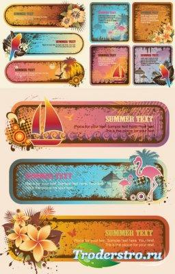 Тропические баннеры - Пальмы, страус, птицы (Вектор)