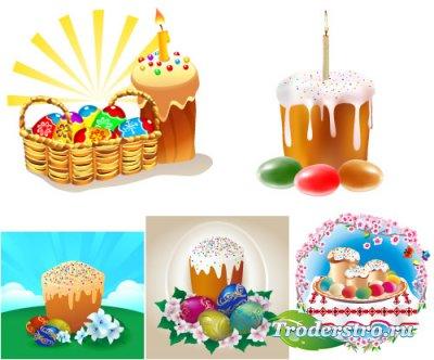 Цветные яйца с кружевами и свечи (Вектор)