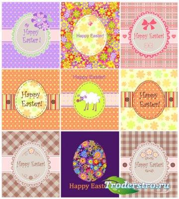 Пасхальные фоны с цветочными кружевами (Вектор)