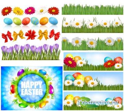 Яйца, цветы, ромашки, бантики, зеленые травы (Вектор)