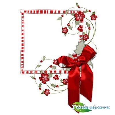 Рождественская Рамка для Фото с Красным Бантом и Цветочным Элементами