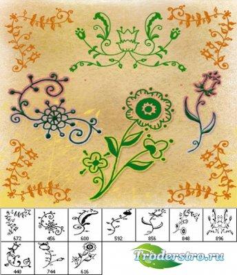 Набор кистей - Цветочный орнамент