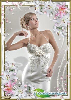 Цветочная рамка для фото - Очаровательные лилии по-ангельски красивы