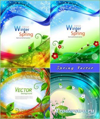 Круглые волнистые весенние фоны (Вектор)