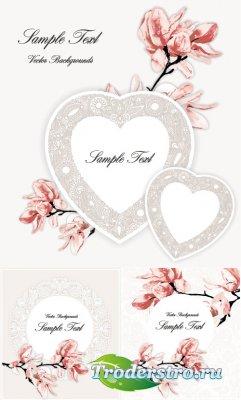 Белые сердечки с узором пейсли и цветами (Вектор)