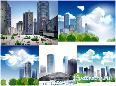 Город небоскребы на фоне облачного неба (Вектор)
