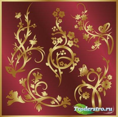 Золотые флористические элементы для дизайна (Вектор)
