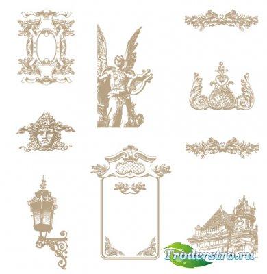 Геральдические лицо, рамки, фонарь, дом (Вектор)
