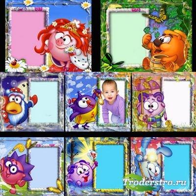 Яркие рамочки для оформления детских фото - Смешарики