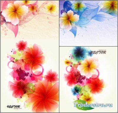 Цветочная абстракция из красных цветов (Вектор)