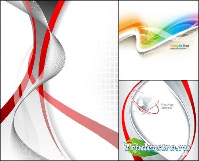 Красные и радужные волнистые полосы на белом фоне (Вектор)