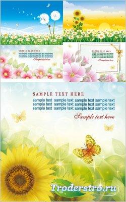 Солнечное ромашковое поле, цветы, подсолнухи (Вектор)