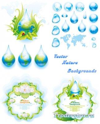 Природные фоны и синие капли глобусы (Вектор)