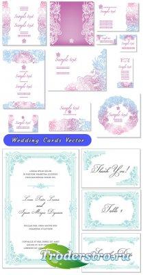 Свадебные рамки карты цвета вишни и бирюза (Вектор)