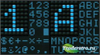 Голубое цифровое и буквенное табло (Вектор)