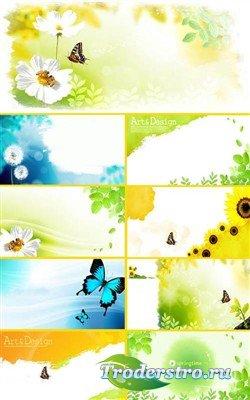 Цветы и бабочки - многослойные PSD