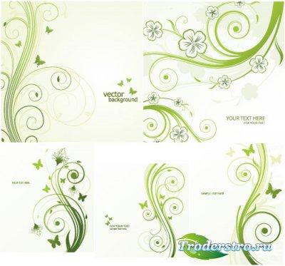 Зеленые кружева с бабочками (Вектор)